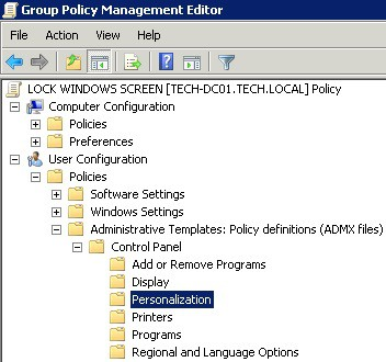 Windows 2008 - Lock windows screen personalization