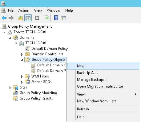 Windows 2012 - Group Policy Objects