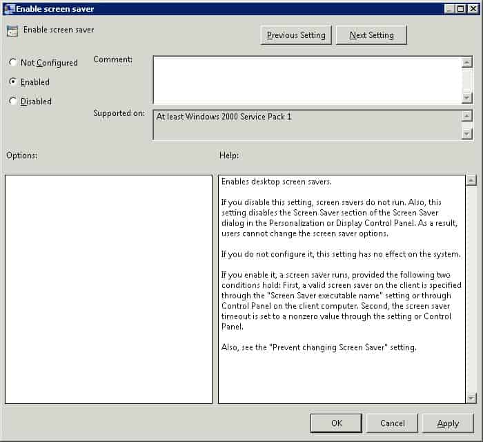 gpo - enable screen saver