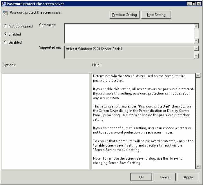 gpo - protect screen saver