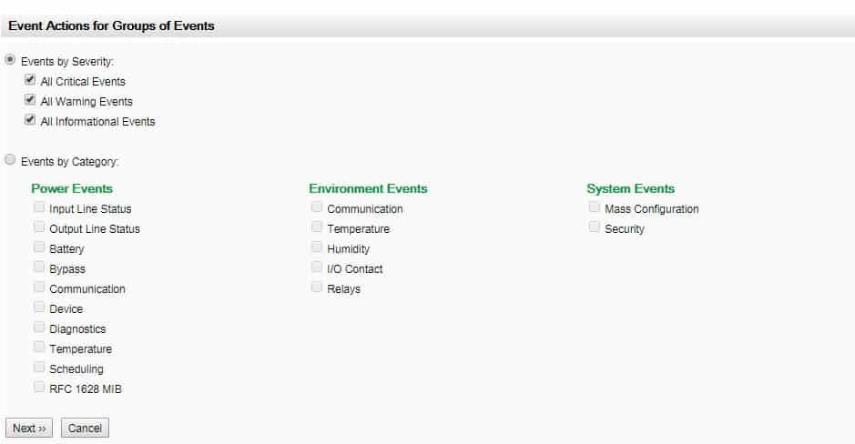 APC UPS Notification level configuration