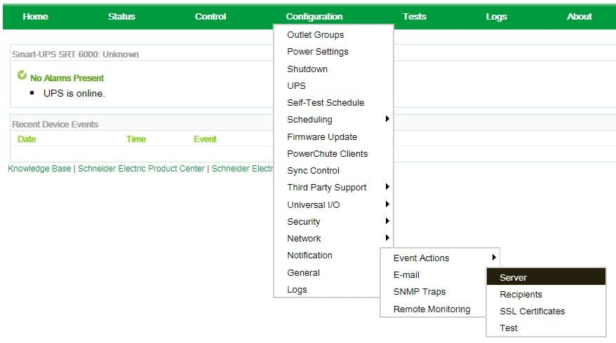 APC UPS SMTP Configuration