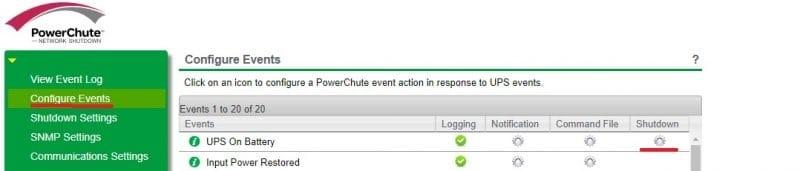 PowerChute Menu Windows