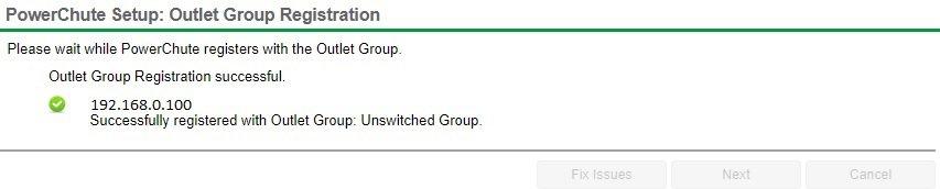 PowerChute Outlet group registration