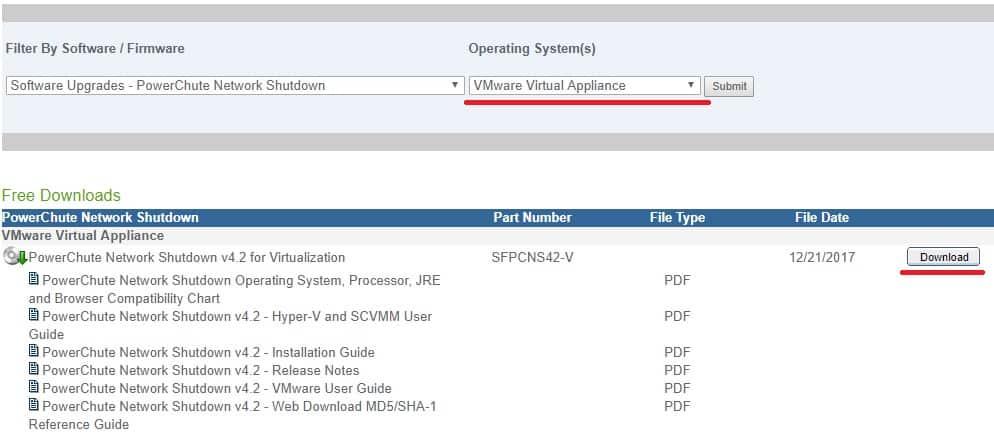 PowerChute download Vmware