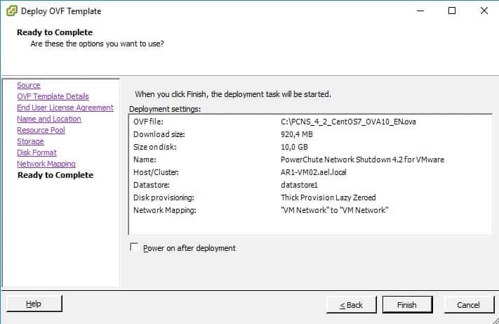Vmware ESXi Import Powerchute summary