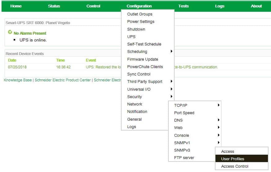 apc snmp user profile