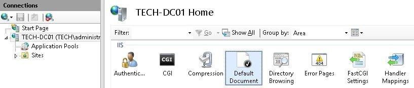 IIS default page PHP