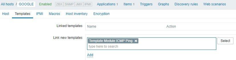 Zabbix ICMP template