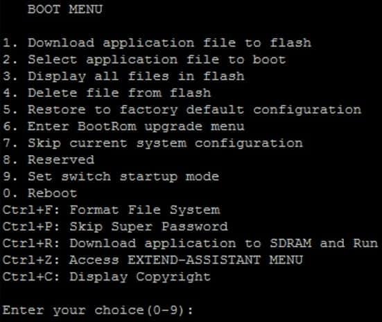 hp switch boot menu