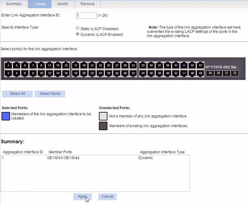hp switch link aggregation configuration