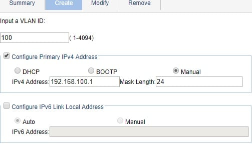HP Switch Vlan interface 100