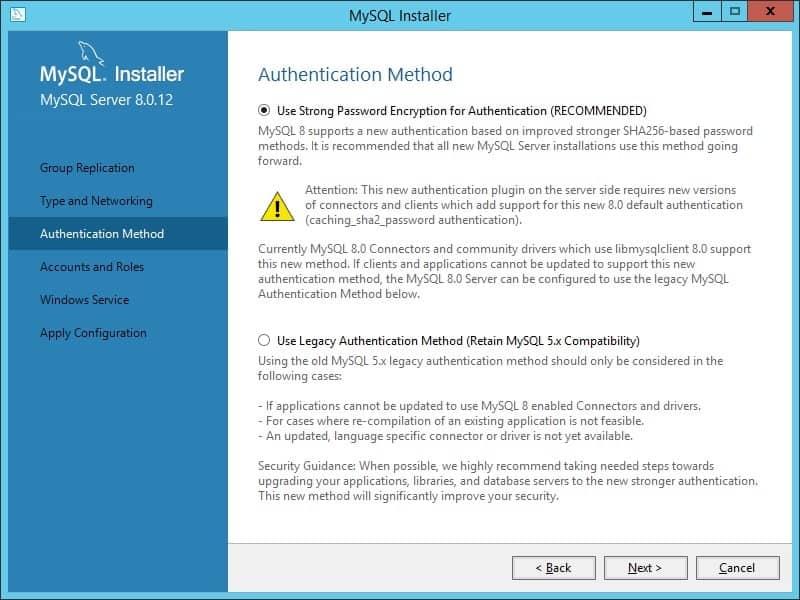 MySQL Authentication method