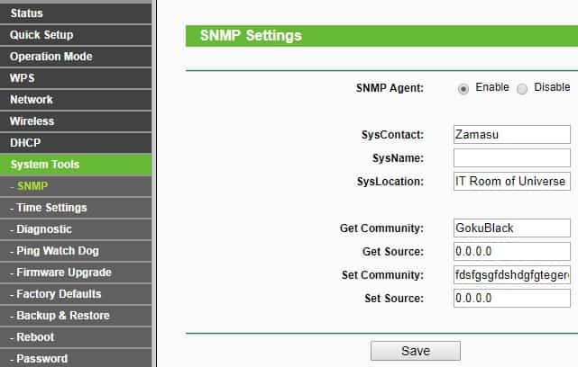 TP-Link access point snmp configuration
