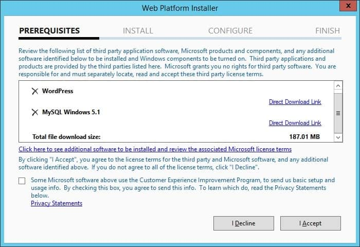 Wordpress web installer summary
