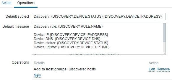 Zabbix Discovery operations