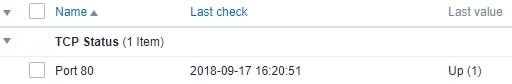 Zabbix TCP Port Status