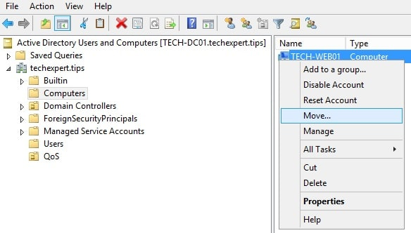 Active directory move computer