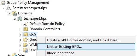 Qos Link an existing GPO