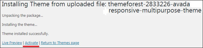 Avada Install Wordpress