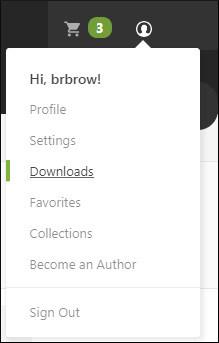 Envato Download menu