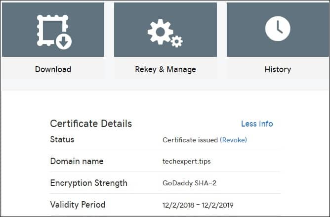 GoDaddy Certificate Download