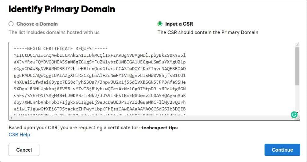 GoDaddy Generate Certificate