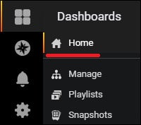 Grafana Dashboard menu