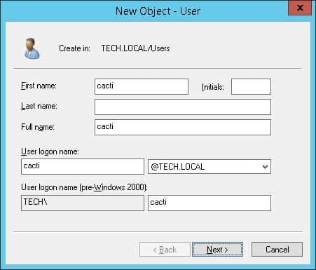 Cacti active directory user