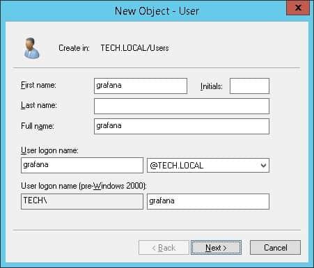 grafana active directory authentication account