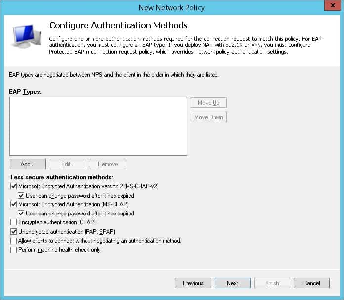 Radius server authentication method