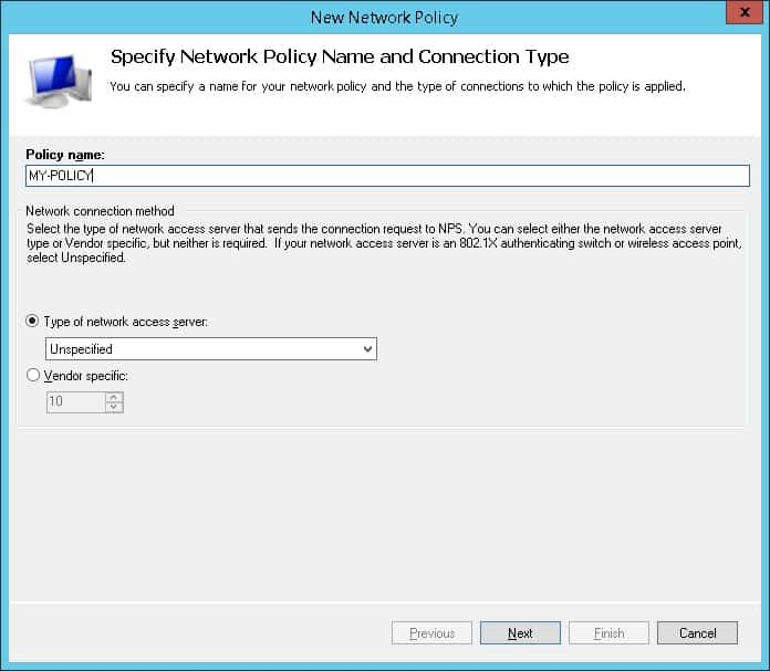 nps - network policy name
