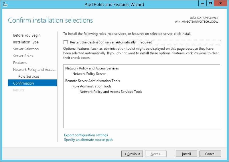 radius server installation on windows