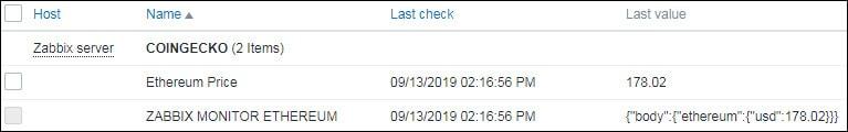 Ethereum monitor price zabbix