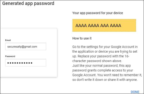Google generate app password
