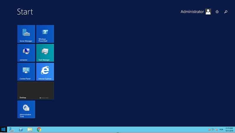 Windows 2012 desktop