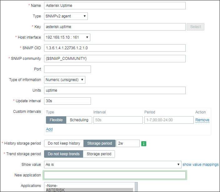Zabbix monitor Asterisk Uptime