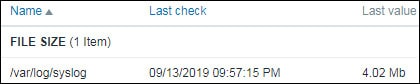 Zabbix monitor file size result