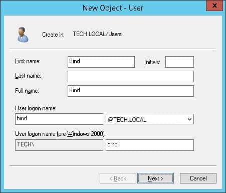 active directory bind account