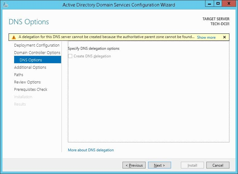 active directory dns options