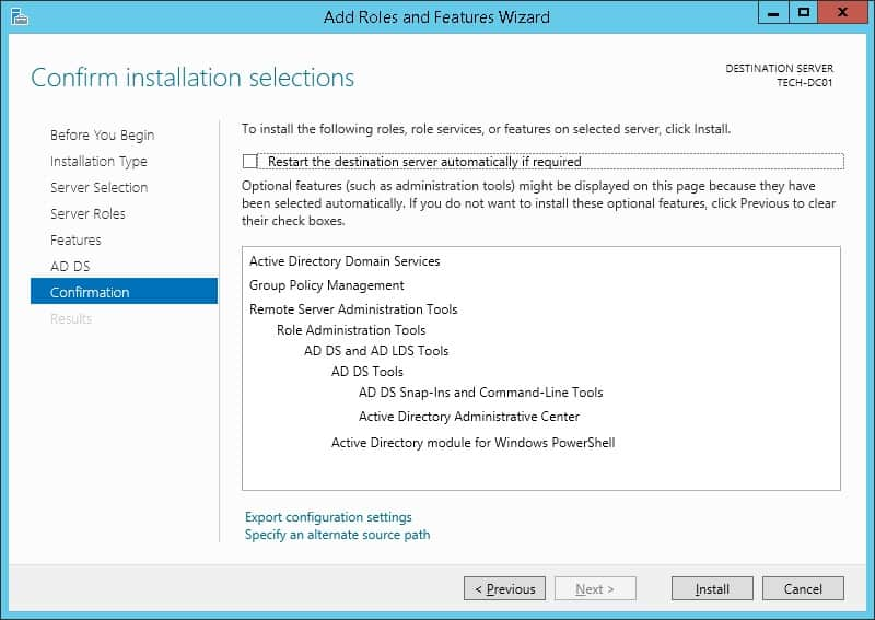 active directory installation confirmation