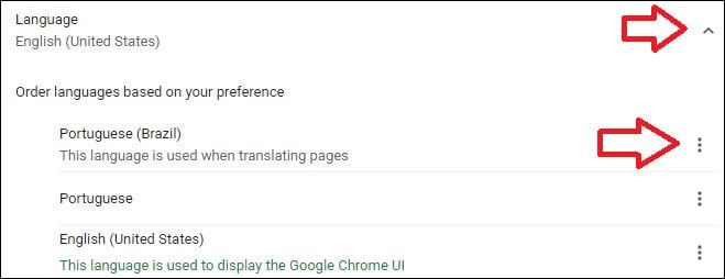 chrome language configuration