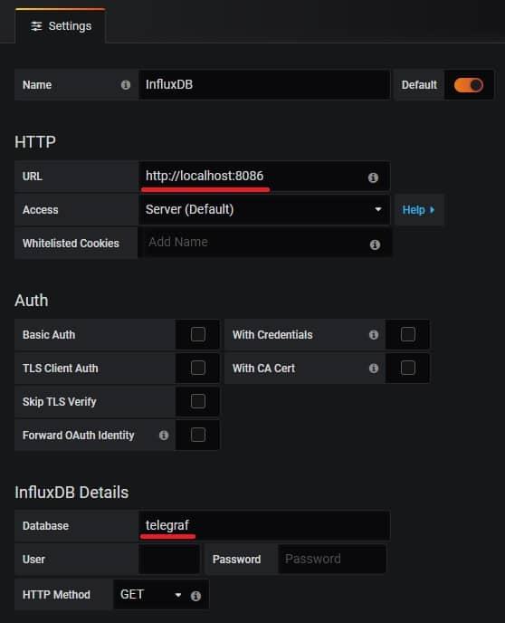 grafana influxdb data source configuration