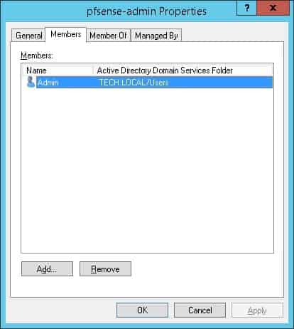 pfsense active directory admin group