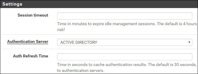 pfsense active directory authentication settings