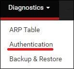 pfsense diagnostics authentication