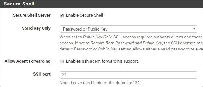 pfsense enable ssh service