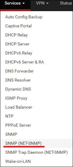 pfsense net-snmp menu