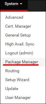 pfsense package manager menu