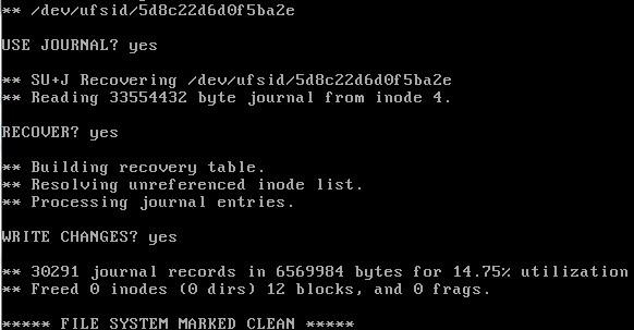 pfsense password recovery fsck